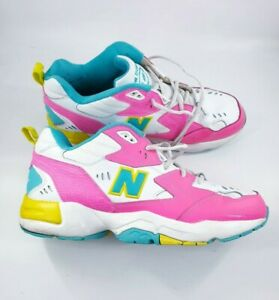New Balance 608 size 10 (44.5) white pink green yellow leather lace up trainers