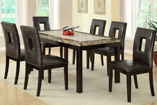 Elicit Style Dining Chairs Set of 6 Chairs in Brown Faux Leather F1051