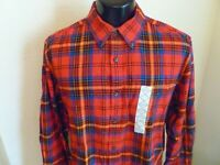 St Johns Bay Men's Shirt Large Red Plaid Button Front Long Sleeve New w tags