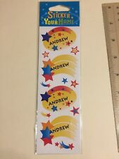 """New """"Andrew"""" Sticker Your Name stickers with Stars - package of 12 stickers"""
