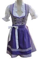 Dirndl Minidirndl Trachtenkleid Lila Weiß mit Bluse 3 tlg. Set - Jessy