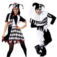 Adult Jester Clown Circus Mens Black+White Fancy Dress Costume Halloween Outfit