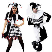 New Harlequin Jester Clown Circus Costume Hat Halloween Adult Funny Dress Outfit