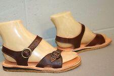 6 NOS Vtg 70s Double Buckle BOho FLAT Sandal Brown Leather Hippie Dunham Shoe