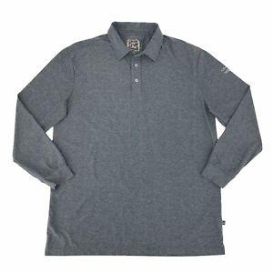 Straight Down Tralee Golf Club Polo Shirt Men Size XL Heathered Gray Long Sleeve