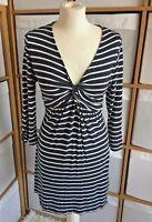 Fat Face Dress Size 12 Navy White Nautical Striped Skater Dress Casual