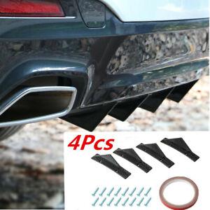 4Pcs ABS Carbon Fiber Diffuser Shark Fin Curved Spoiler Fit For Car Rear Bumper