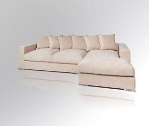 AMARIS Elements   Ecksofa 'Moore' L Form Samt Sofa beige creme Stoff 3m