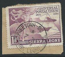 SIERRA LEONE 1949 1½d UPU FREETOWN - BO TPO railway cds....................45820