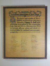 1934 San Diego Associate Executives Award - Thomas C. Swift  - w/ 45 SIGNATURES