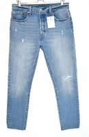 Womens Levis 501 SKINNY High Rise Blue Ripped Jeans Size 14 W32 L28