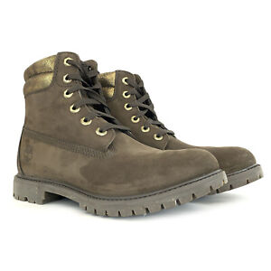 Timberland Women's 6 Inch Double Collar Dark Brown / Gold Leather Boots A1R2I