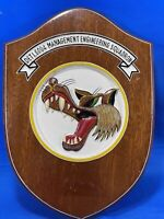 "DETI, 6004 Management Engineering Squadron Wood Plaque  Wolf Head - 12"" X 8.5"""