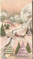 VINTAGE CHRISTMAS PINK WHITE TREES HORSE SLEIGH STREAM CHURCH GLITTER ART CARD