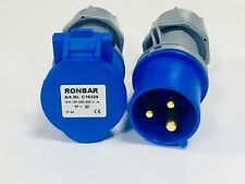 Ronbar 16 AMP 3 PIN PLUG & COUPLER TRAILING SOCKET WATERPROOF IP44  200-250V