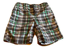 💚💙 Carter's Boys Cotton Shorts 4T Green & Gray Plaid Summer
