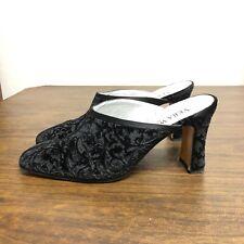 39 Us 7 Vintage Vera Wang Black Etched Velvet Heels Mules Slides Beauties