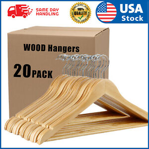 USA 20PACK Wooden Hangers Suit Hangers Premium Natural Finish Utopia Home