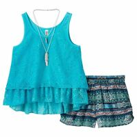 Crochet Tank, Shirred Shorts & Necklace Set Girls 3 Pc NWT Beautees Large (14)