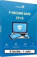 F-Secure Safe Internet Security 2018, 5 Geräte - 1 Jahr, ESD, Download Win/Mac/A