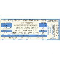 ROGER DALTREY & JOHN ENTWISTLE Concert Ticket Stub RENO NEVADA 6/25/94 THE WHO