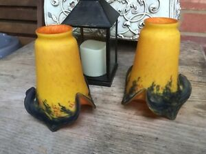 PAIR VINTAGE FRENCH GLASS LAMP SHADES