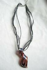 """Modern Style Acrylic Molded Curl Pendant Necklace Rust Navy & Gold 18"""" Cord"""