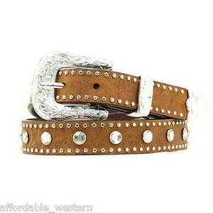 GIRL'S WESTERN BELT~ Leather/Crystal/Silver Buckle- Black, Brown, Red or Pink 14