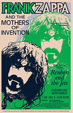 1970's OffBeat Rock: Frank Zappa at  Pacific Northwest Concert Poster 1971 15x23