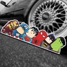Super Hero Hitchhike Save The World Moto Stickers Funny Cartoon Car Stickers