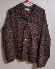 Button down shirt Plus Size 1X long sleeve Animal leopard Print blouse top woman