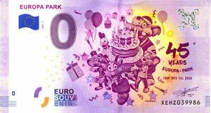 ALLEMAGNE Rust, Europa Park 5, 45 ans, 2020, Billet Euro Souvenir