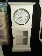 Table Top Curio Cabinet w/ Clock 2 Compartments Inside Glass Front White New