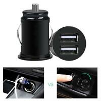 Car Truck Dual 2 USB Mini Charger Adapter for iPhone Black 12V Power