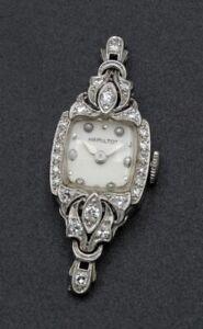 VINTAGE HAMILTON PLATINUM & DIAMOND LADIES WRISTWATCH CASE & MOVEMENT NR W518-1