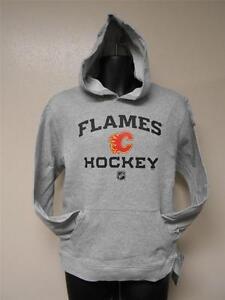 NEW-MENDED Calgary Flames Reebok Grey Lightweight Hoodie Youth Medium M 10/12