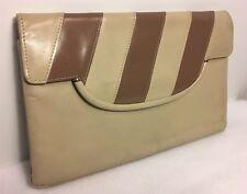 Vintage Purse Clutch Nancy's Genuine Leather Off White Cream w/ Gold Hide Chain