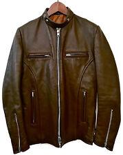 Vintage 60s BRIMACO BRITISH MFG Brown Leather Cafe Racer Motorcycle Jacket S 36