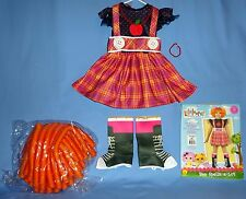 Lalaloopsy Costume dress;child 2-4;4-6;Bea Spells a-Lot;boot tops;wig;jewelry