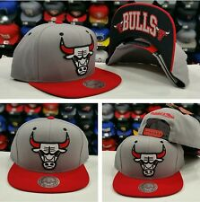 NEW NBA Mitchell and Ness Chicago Bulls Gray RED Adjustable snapback