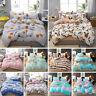 Cotton Quilt Duvet Cover Set with Flat Sheet Pillowcase Floral Zipper Home Decor