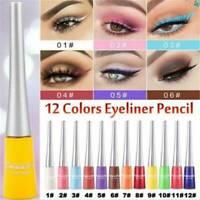 12 Color Matte Liquid Eyeliner Neon Green White Eye Liner Pen Long Lasting UK