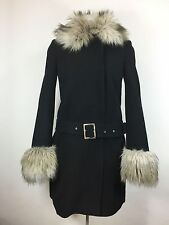 Juicy Couture Black Coat Wool Blend Fur Trim Collar Removable Belted Sz S