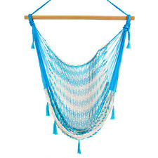 New Mexican Handmade Mayan Swing Hammock Chair Outdoor Cotton Baby Blue & White