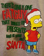 The Simpsons Gray Christmas T-Shirt XL Bart There's Only One FAT GUY Santa NEW!