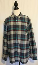 LEVI'S ~ Mens Brushed Cotton Grey Maroon Teal Blue Plaid Check L/S Shirt  XXL