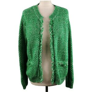 Ladies Hush Size L 14 Green White Basket Stitch Cardigan Frayed Trim Womens