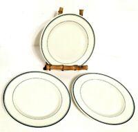 "Walker Jackson 3 Plates 6-3/8"" Green Stripes Restaurant Ware Vintage USA"