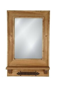 Del Rey Mirror-Key Holder-Farmhouse-Primitive-18x28 in-Rustic-Wood-Natural