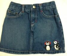 Girls Size 6 Gymboree Denim Blue Jean Skirt Penguins *